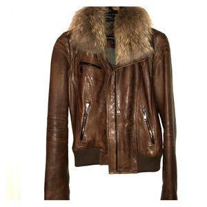 Andrew Marc leather bomber with fur collar